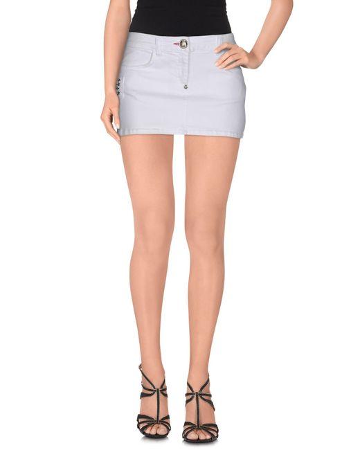 philipp plein denim skirt in white lyst