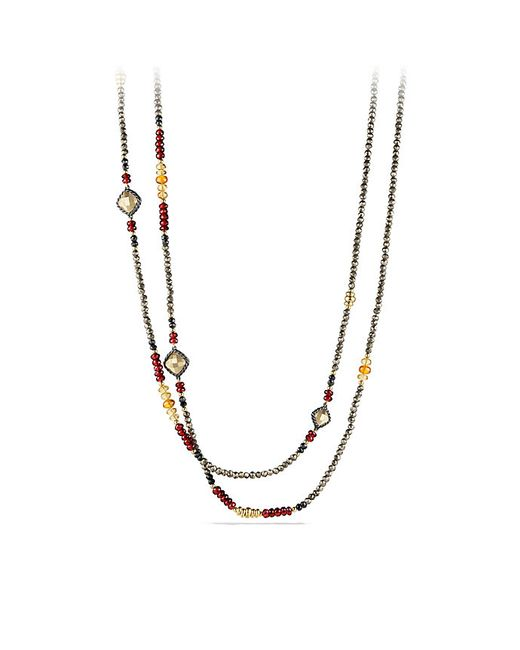 David Yurman | Multicolor Bijoux Necklace With Pyrite, Garnet And Citrine In 18k Gold | Lyst