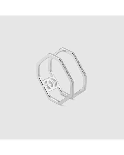 Gucci   Metallic White Gold And Diamond Ring   Lyst