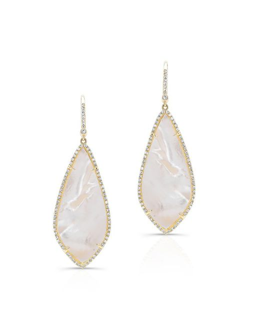 Anne Sisteron | 14kt Yellow Gold Mother Of Pearl Diamond Long Leaf Earrings | Lyst