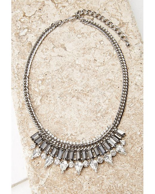 Forever 21 | Metallic Faceted Faux Stone Statement Necklace | Lyst