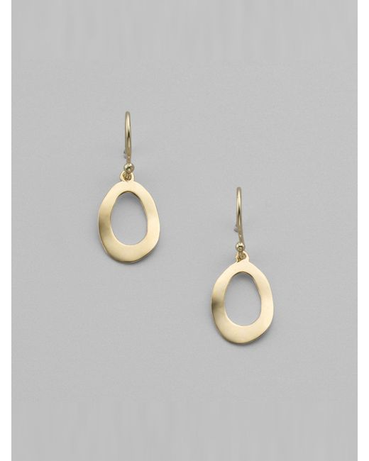 Ippolita | Metallic Glamazon Sculptural Metal 18k Yellow Gold Mini Open Oval Drop Earrings | Lyst