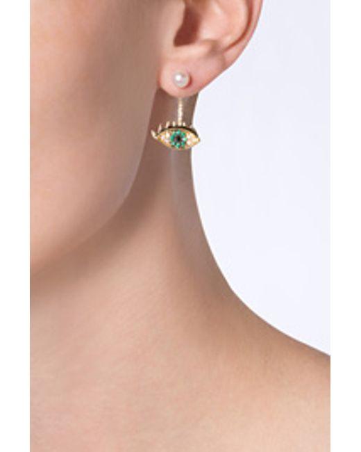 Delfina Delettrez | Metallic Gold Cartoon Eye And Pearl Earring - Gold | Lyst