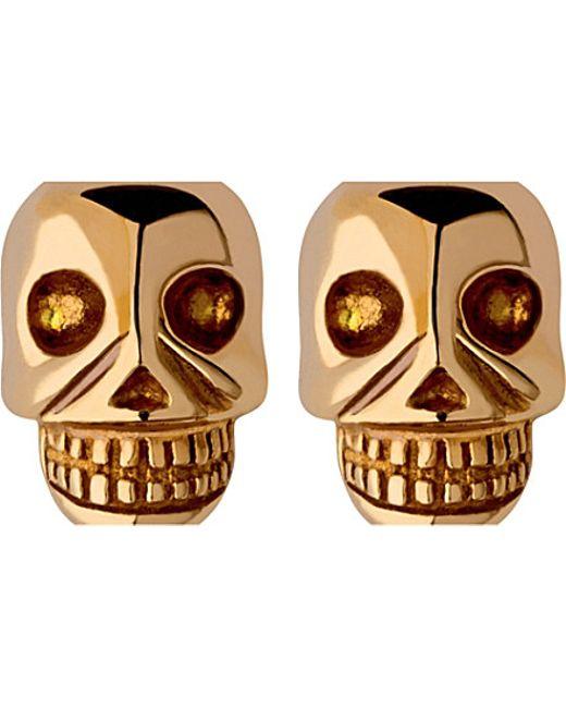 Links of London | Metallic Mini Skull Yellow Gold Vermeil Stud Earrings | Lyst