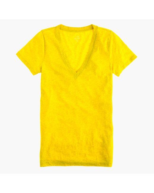 J.Crew   Yellow Vintage Cotton V-neck T-shirt   Lyst