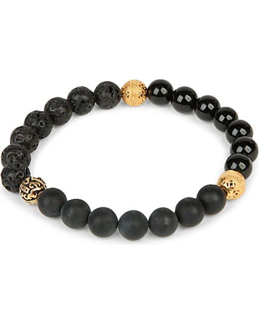 Nialaya | Black Matte Onyx, Agate And Lava Stone Beaded Bracelet | Lyst