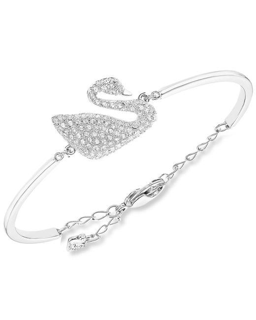 Swarovski   Metallic Rhodium-plated Crystal Swan Bangle Bracelet   Lyst