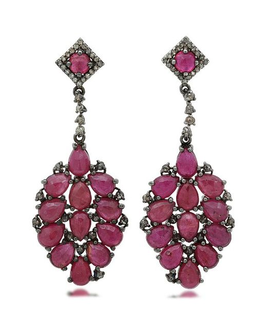 bavna jewelry bavna sterling silver ruby earrings with chagne 9875