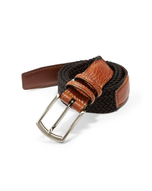 Saks Fifth Avenue   Black Stretch Leather Belt for Men   Lyst