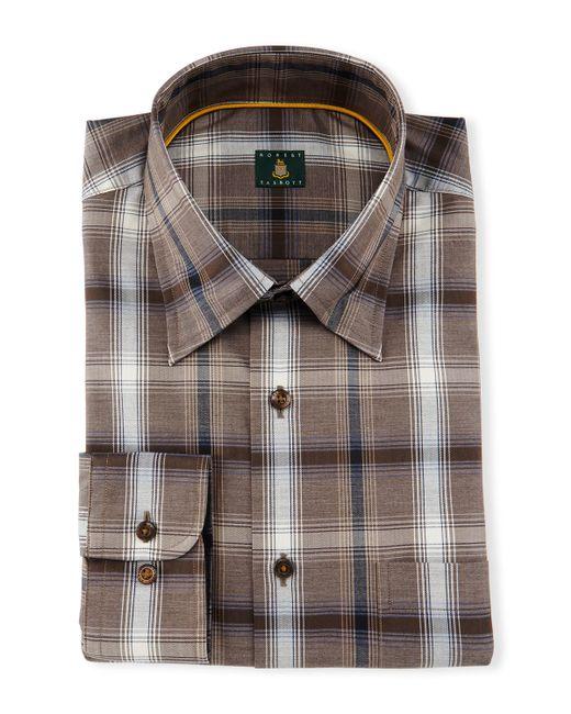 Robert talbott plaid woven dress shirt in brown for men lyst for Robert talbott shirts sale