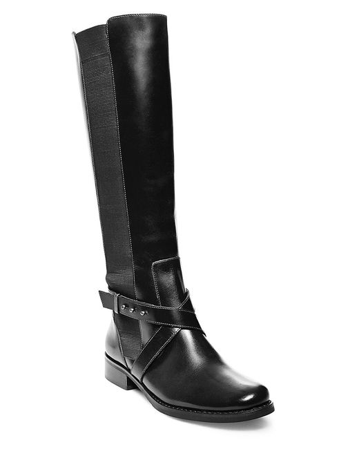 Steven by Steve Madden | Black Sydnee Knee-high Leather Boots - Wide Calf | Lyst