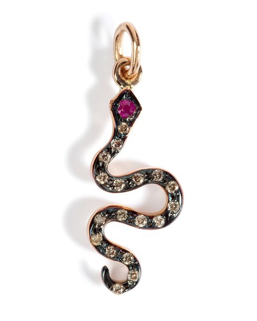 Ileana Makri | Pink Gold/diamond/ruby Little Snake Pendant | Lyst