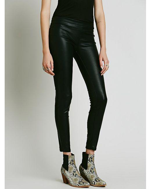 Free People | Black Vegan Leather Pull-on Legging | Lyst