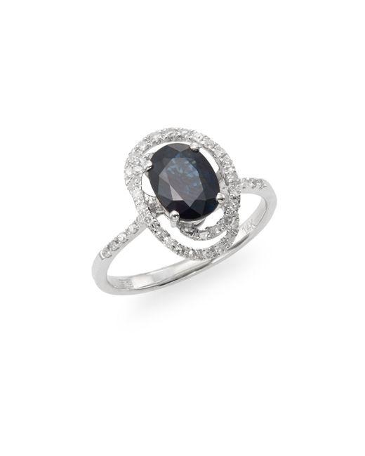 Effy | Blue Sapphire, Diamond & 14k White Gold Swirl Ring | Lyst