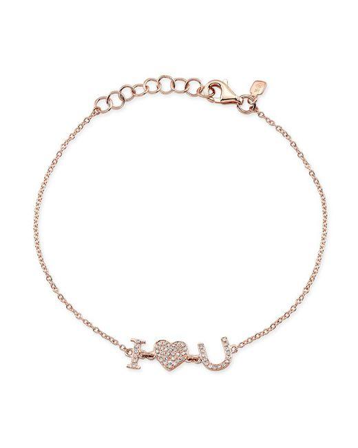 Anne Sisteron | Metallic 14kt Rose Gold Diamond I - Heart - U Bracelet | Lyst