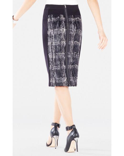 bcbgmaxazria ines coated plaid faux fur pencil skirt in