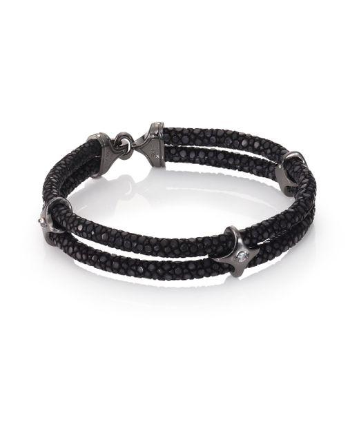 Stinghd | Ruby, Blackened Silver & Stingray Star Wrap Bracelet for Men | Lyst