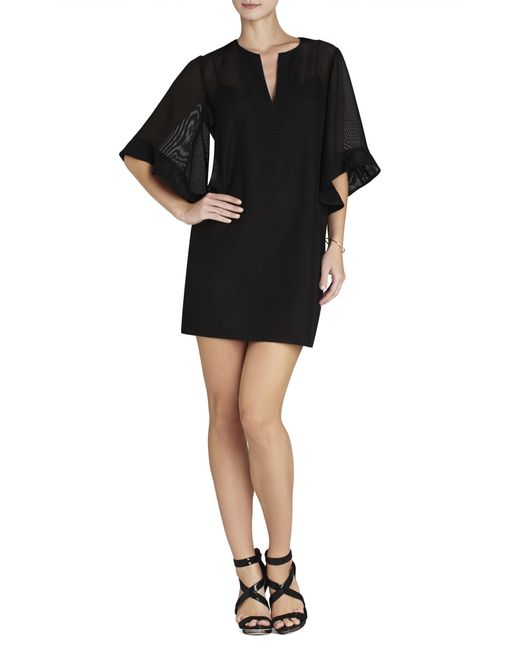 bcbgmaxazria tati ruffle sleeve dress in black lyst