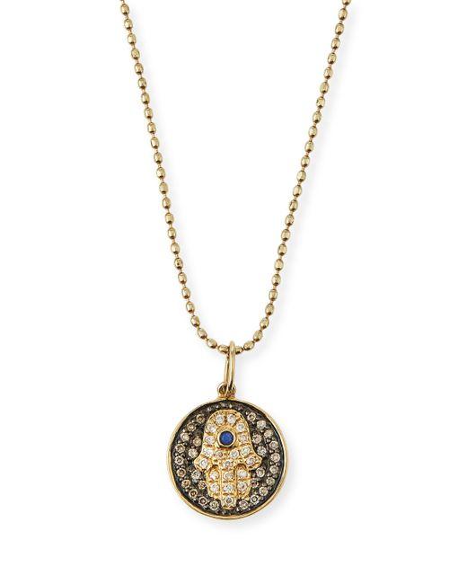 Sydney Evan | Metallic Small Diamond Hamsa Necklace W/blue Sapphire | Lyst