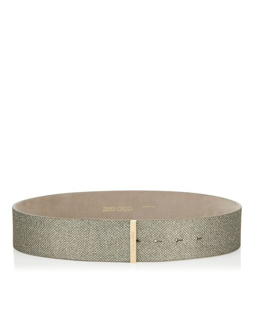 Jimmy Choo | Gray Brenda Light Bronze Lamé Glitter Belt | Lyst