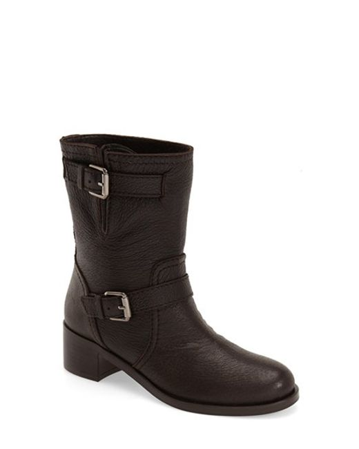 delman max moto boot in brown brown leather lyst