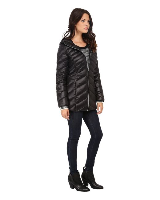 Jessica Simpson | Black Long Packable Jacket With Hood | Lyst
