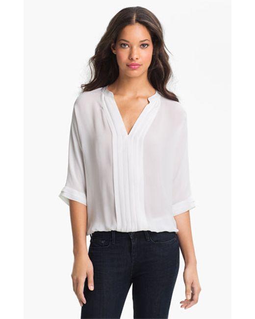 Joie | White 'marru' Semi-sheer Silk Blouse | Lyst