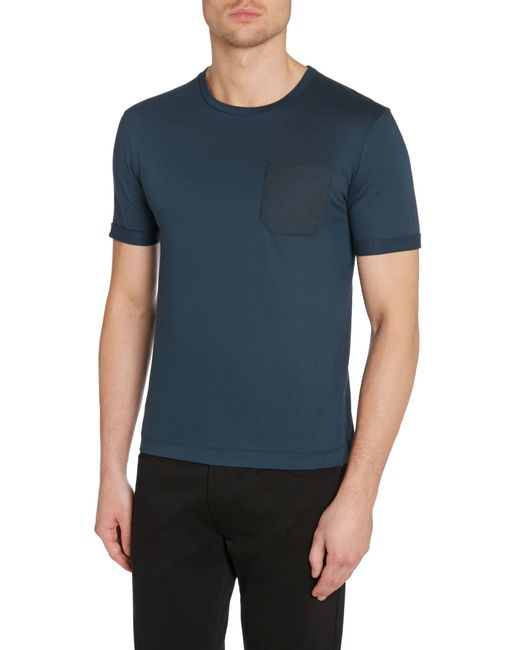 Kenneth Cole | Blue Reuben T-shirt With Textured Pocket for Men | Lyst