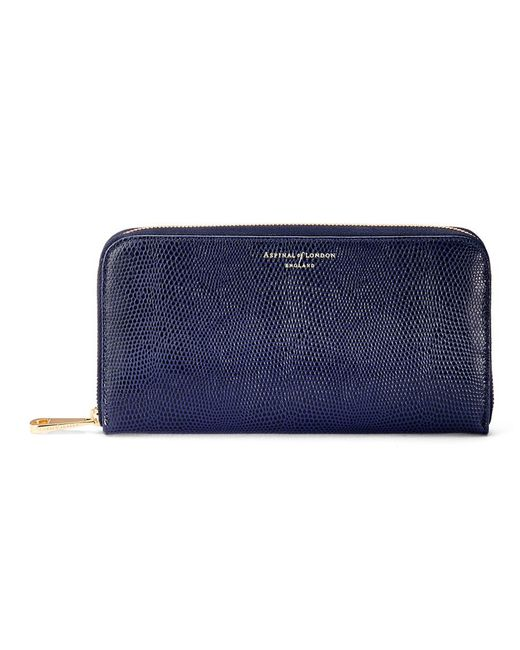 Aspinal | Blue Continental Zip Around Purse | Lyst