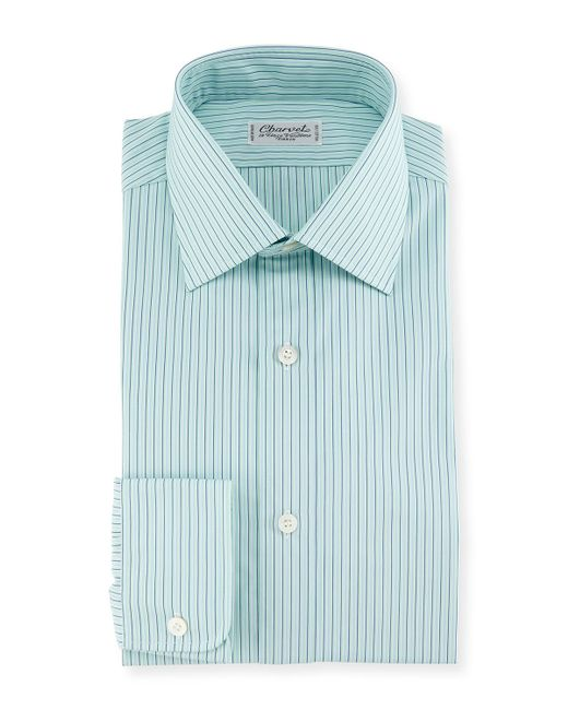 Charvet shadow striped dress shirt in teal for men mint for Teal mens dress shirt