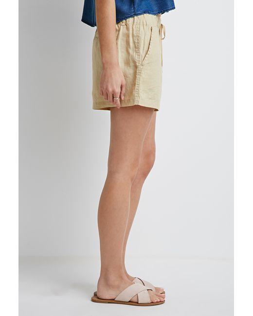 Forever 21 | White Linen Drawstring Shorts | Lyst