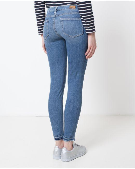 PAIGE   Blue Skinny Un-done Hem Jeans   Lyst