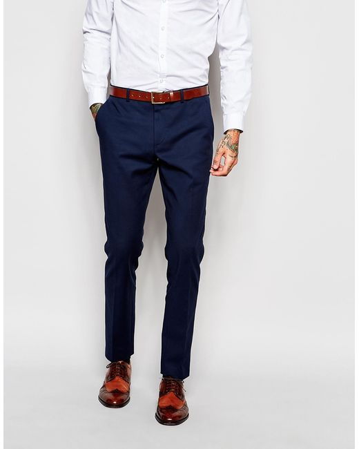 Asos Skinny Suit Trousers In Navy in Blue for Men - Save 57% | Lyst