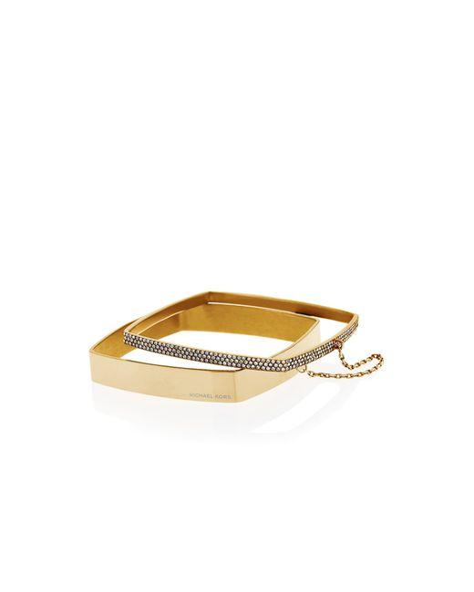 Michael Kors | Metallic Pavé Gold-tone Double Bangle | Lyst