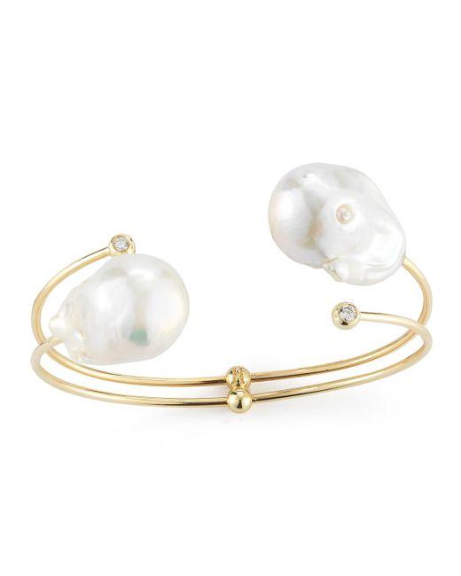 Mizuki   Metallic Double-pearl & Diamond Cuff Bracelet   Lyst