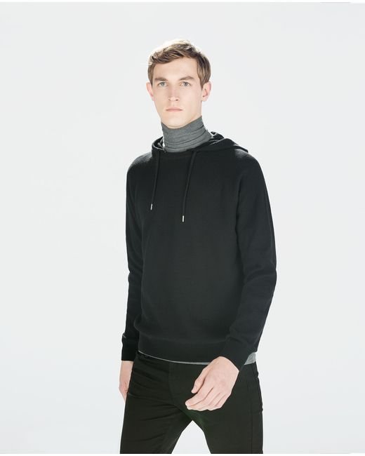 Zara | Black Structured Sweater With Hood for Men | Lyst
