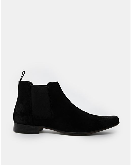 asos chelsea boots in suede in black for blacksuede