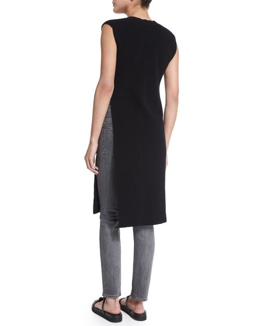 Helmut Lang Ribbed Side Slit Tunic Sweater In Black Save
