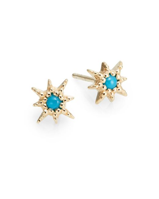 Anzie | Blue Turquoise & 14k Yellow Gold Stud Earrings | Lyst
