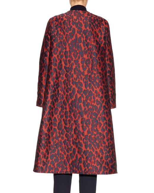 Lanvin a line leopard print brocade coat in red red multi for Red line printing