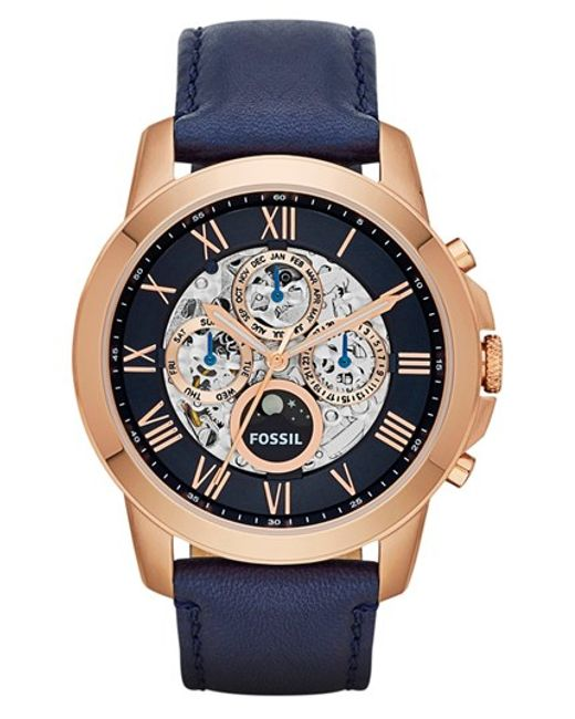 Fossil | Pink 'grant' Automatic Leather Strap Watch for Men | Lyst