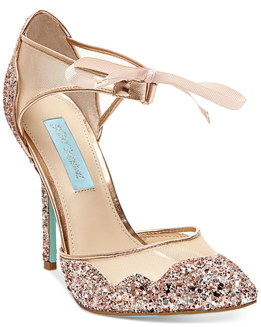 Gold High Heel Bridesmaid Name Champagne Party Wedding: Betsey Johnson Stela Evening Sandals In Pink (Champagne