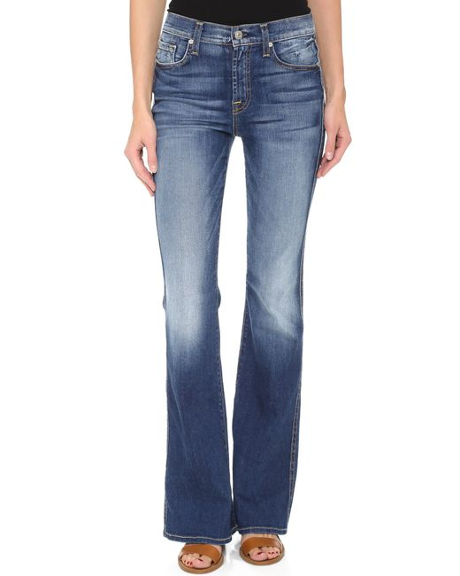 7 For All Mankind | Blue Mid Rise Bootcut Jeans | Lyst