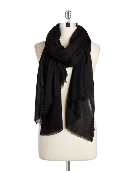 Lord & Taylor | Black Solid Fringed Pashmina Scarf | Lyst