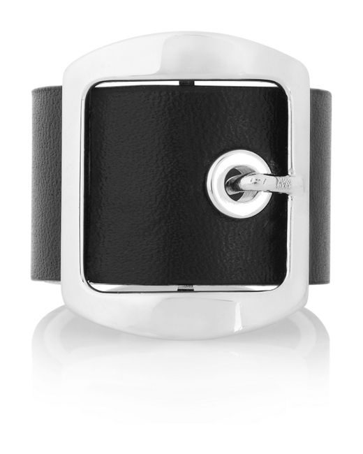 Givenchy   Ring In Black Leather And Palladium-Tone Brass   Lyst