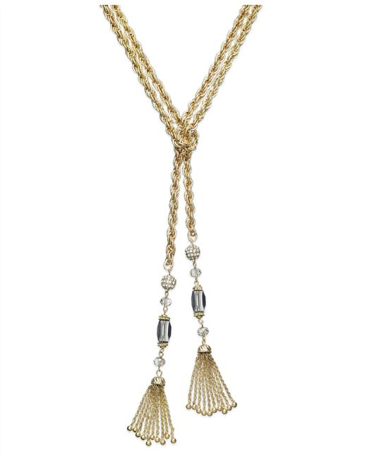 INC International Concepts | Metallic Gold-tone Beaded Y-shaped Tassel Necklace | Lyst