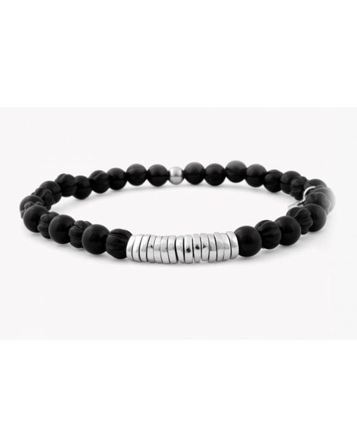 Tateossian | Disc Round Black Agate Beaded Bracelet With Silver Spacer Discs for Men | Lyst