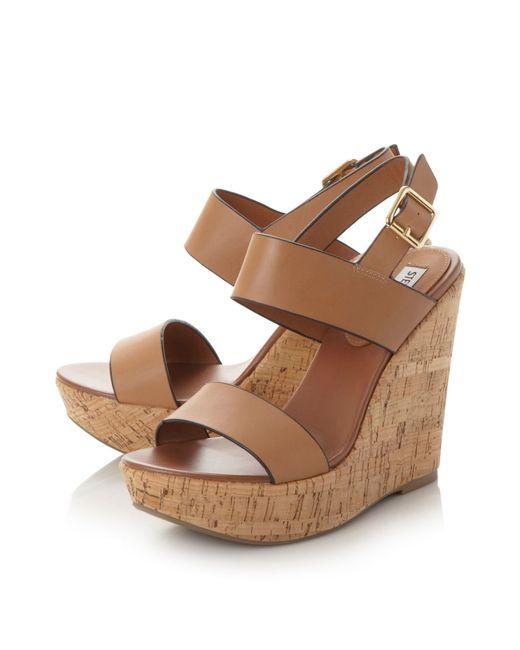 Steve Madden | Brown Esme Cork Wedge Sandals | Lyst