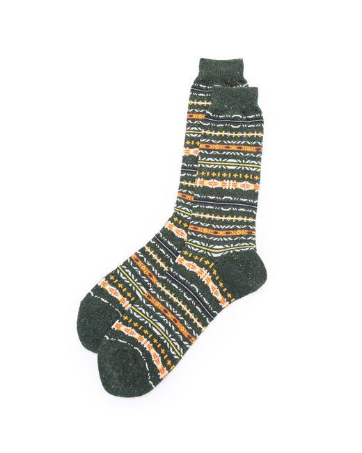 Anonymous Ism | Green Nep Fair Isle Crew Socks for Men | Lyst