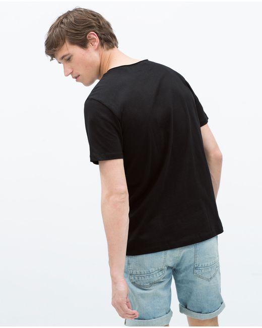 Zara | Black Deluxe T-shirt for Men | Lyst